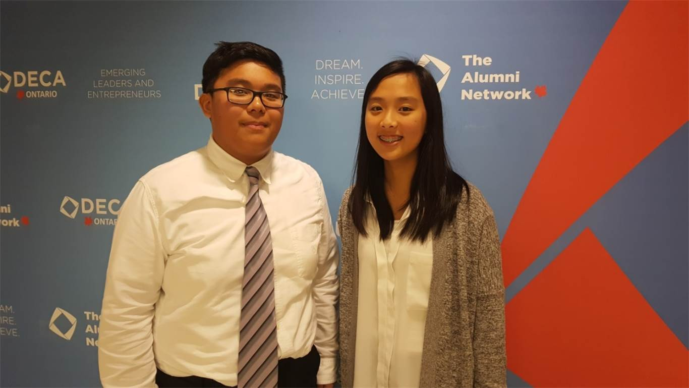 Grade 9 students Jomel Rodil and Lucia Lee competed in the Buying and Merchandising Team Decision Event.