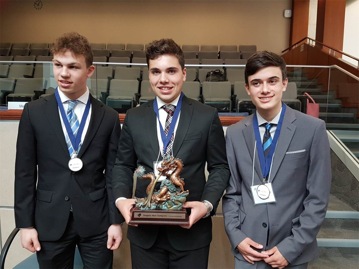First Place Winners from left: JP Parente, Julian Lombardi and Matthew Fticar. Photo courtesy of Gelsomina Riverso-Casella.