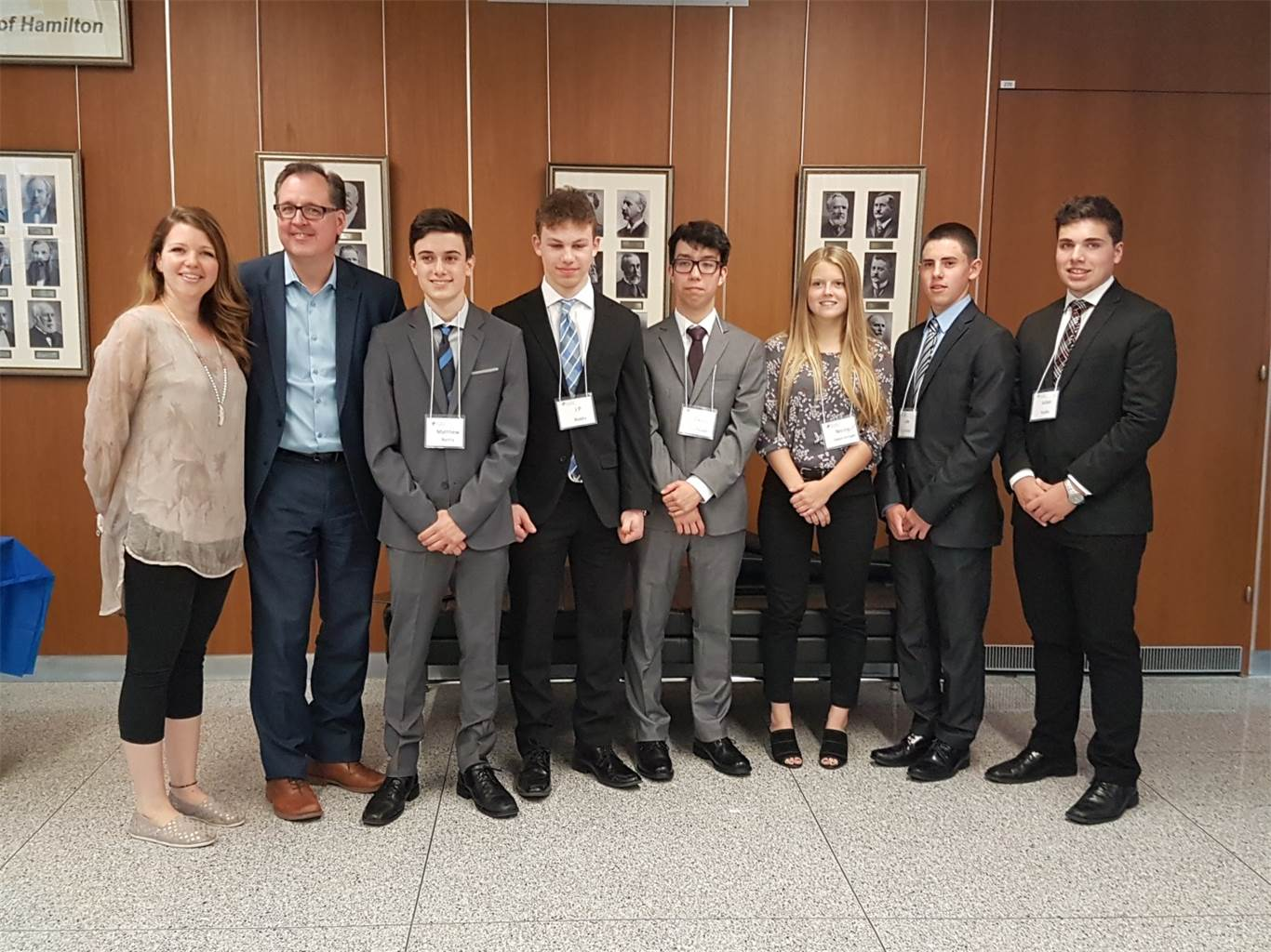 Left to Right: Industry Professional and Class Business Mentor Jennifer Bitner, Superintendent of Education Morris Hucal, Matthew Fticar, JP Parente, Casey Gillis, Luke Del Cantero and Julian Lombardi. Photo courtesy of Gelsomina Riverso-Casella.