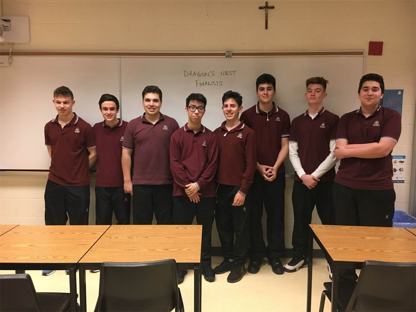 BT finalists from the Video Pitch Submissions. From left: JP Parente, Matthew Fticar, Julian Lombardi, Casey Gillis, Luke Del Cantero, Connor Lynch, Lucas Branch, and Sommer Martire. Photo courtesy of Gelsomina Riverso-Casella.