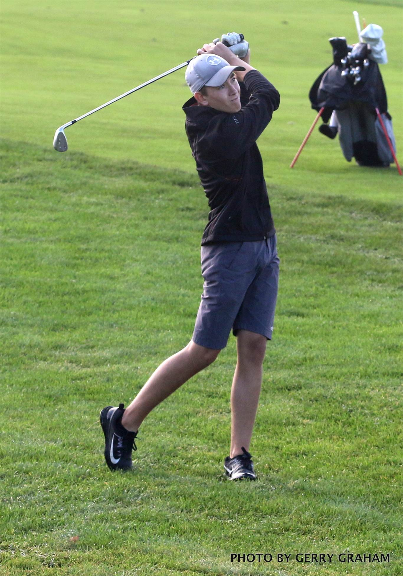Adam McLean is part of the foursome from Bishop Tonnos heading to the OFSAA boys' golf championship in Whitby. Photo by Gerry Graham.