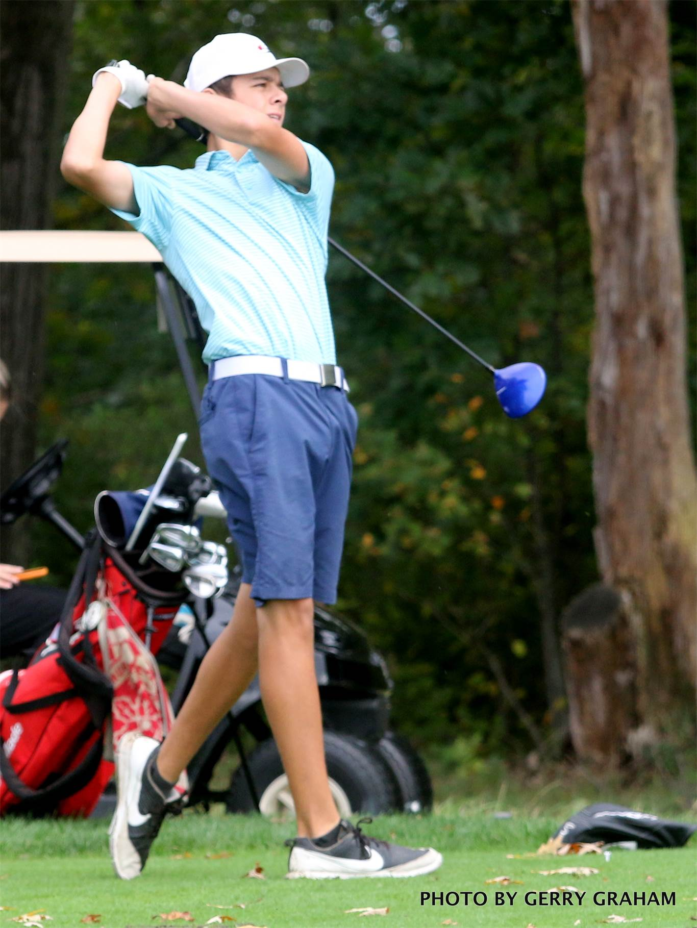 Alex Duarte is part of the foursome from Bishop Tonnos heading to the OFSAA boys' golf championship in Whitby. Photo by Gerry Graham.