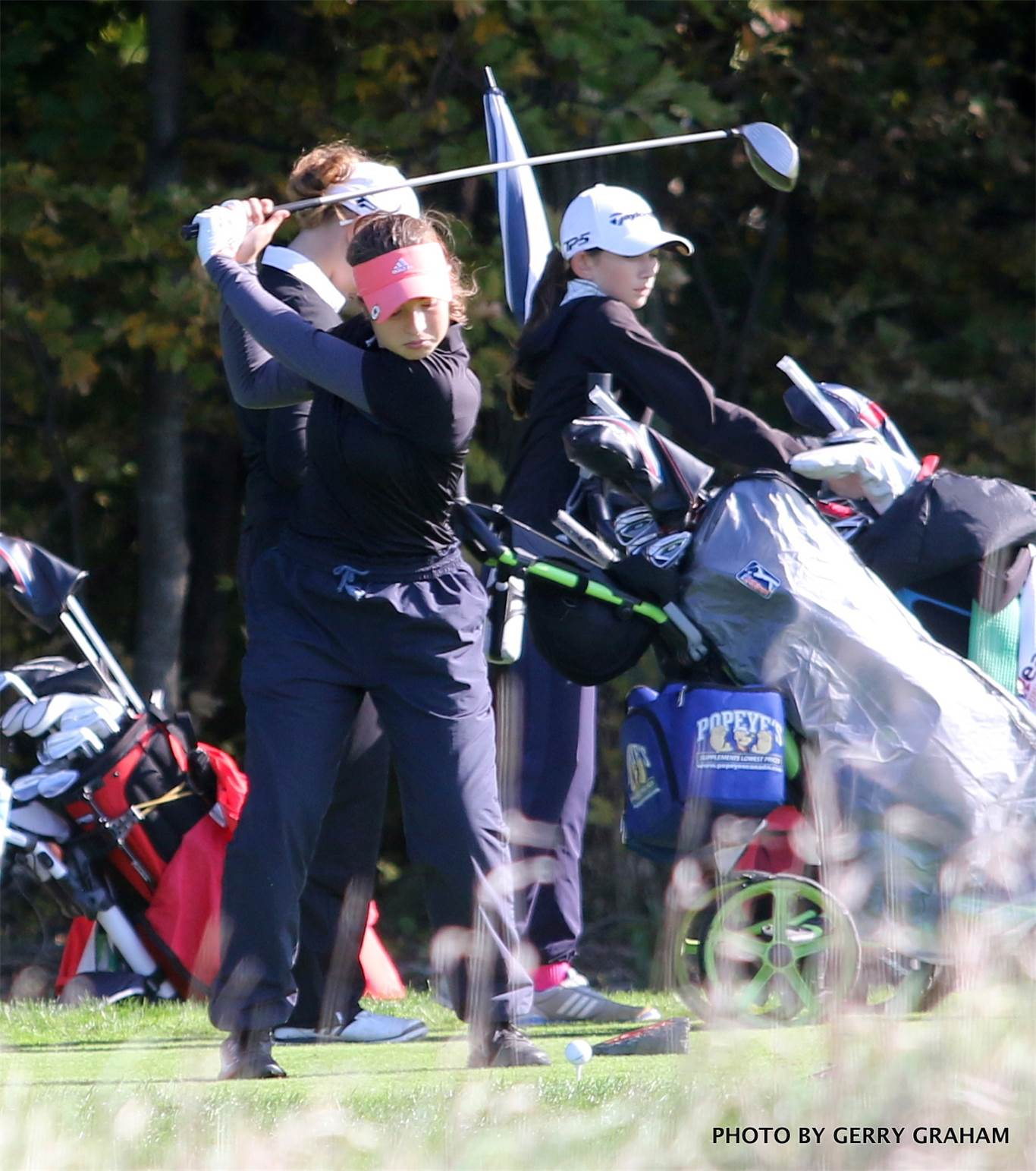 In the girls' 10-player division at Piper's Heath, Meg Miron of Hamilton's ACMT Jaguars carded an 85, one-shot behind the winner, Alexis McMurray of Iroquois Ridge. Photo by Gerry Graham.