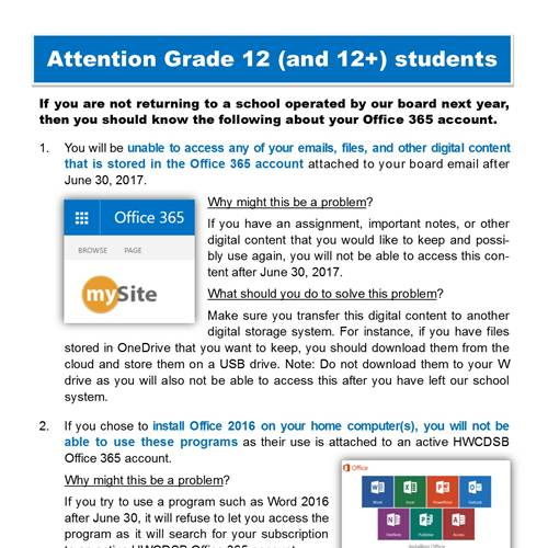 Office 365 Deactivation Information for Graduating Students