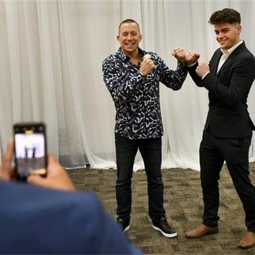 Ethan Monagan from St. Thomas More High School poses for a photo with retired UFC star Georges St. Pierre at the 69th Annual B'nai Brith Sports Celebrity Dinner. Ethan was one of several high school athletes of the year for 2018-2019. Photo by Barry Gray, The Hamilton Spectator