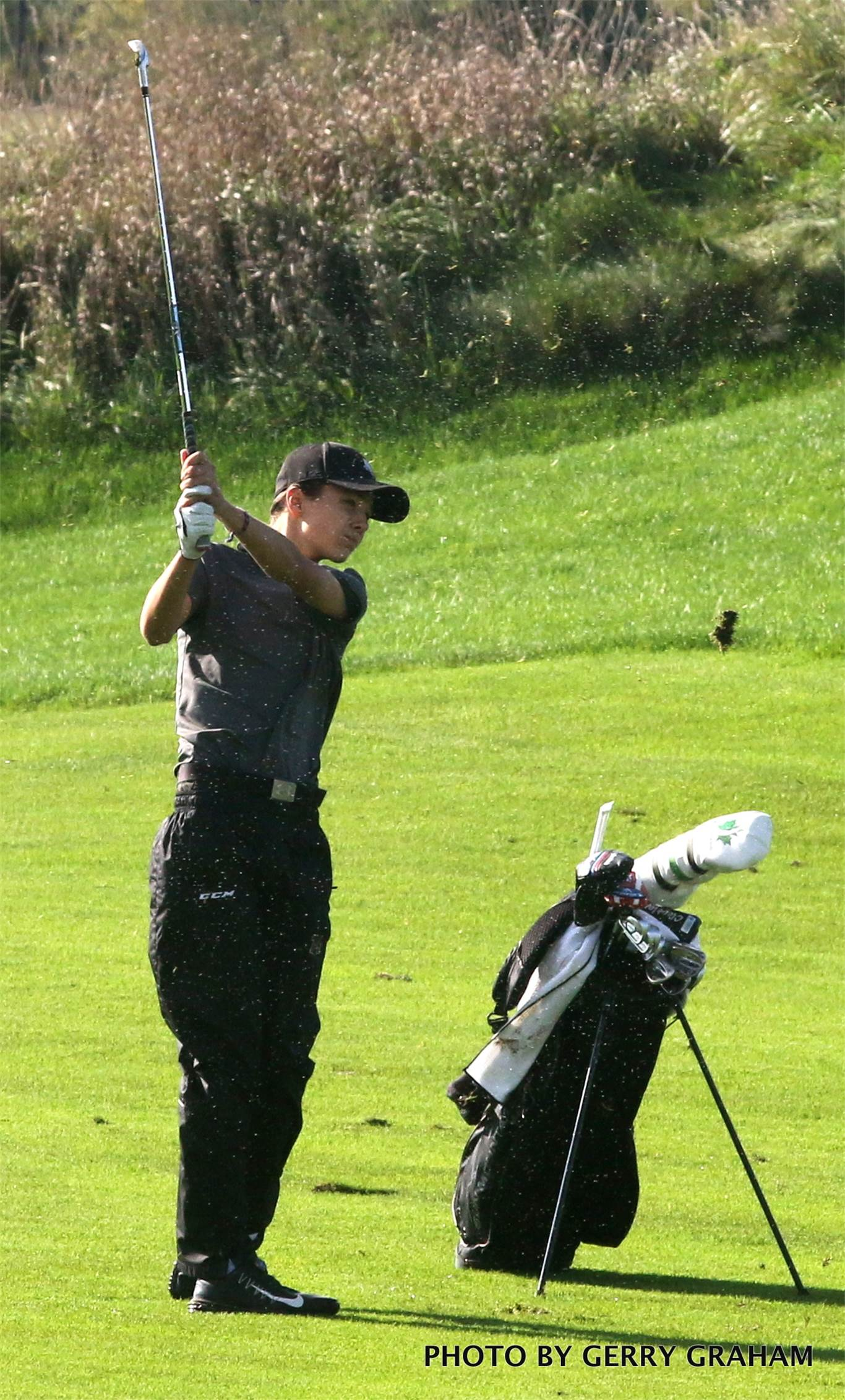BT's Liam Mosher led the Titans with a 2-over 74 after the first round of the OFSAA boys' golf championship on Oct 10. Individually, he's tied for 14th place. Photo by Gerry Graham.