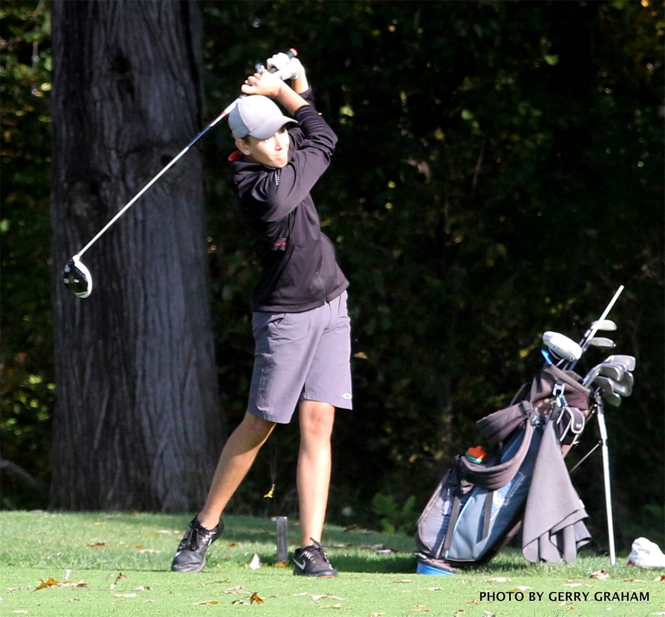 BT's Adam McLean finished the first round of the OFSAA boys' golf championship with an 85 (T84). Photo by Gerry Graham.
